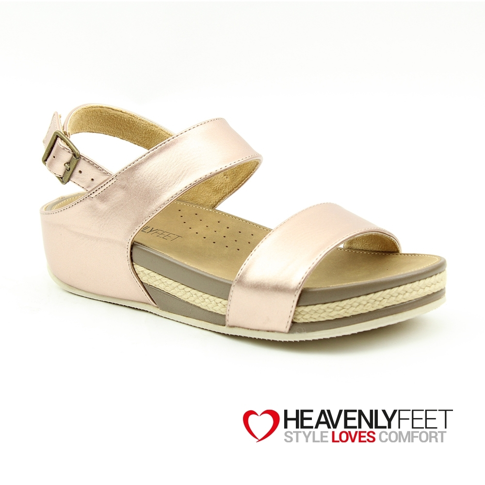 【HEAVENLY FEET】英國舒適品牌寬版包覆金屬皮革厚底涼鞋-VICKY2