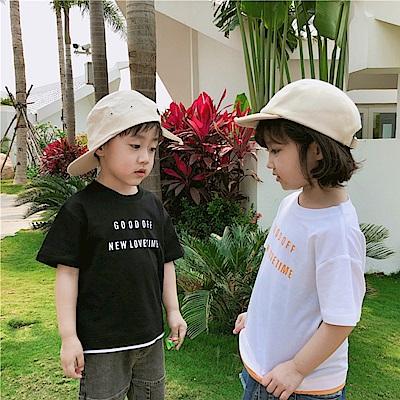 小衣衫童裝  兒童夏季純棉衣襬邊拼色短袖T恤1080429