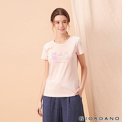 GIORDANO 女裝可愛貓咪印花純棉T恤-10 淡紫色