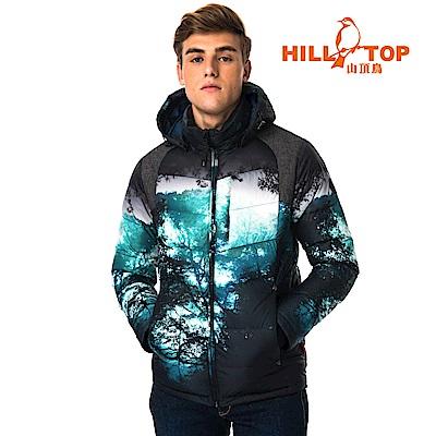 【hilltop山頂鳥】男款超潑水保暖蓄熱羽絨短大衣F22MY6暗丈青印花