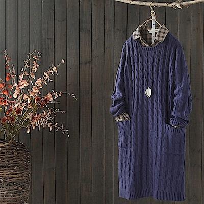 糖果紋寬鬆毛衣裙套頭針織衫中長洋裝-設計所在
