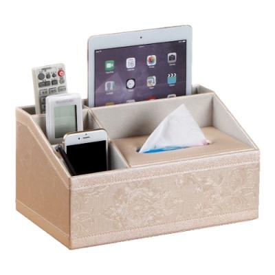 日創優品 多功能收納梯形造型皮革面紙盒(金繡花紋)