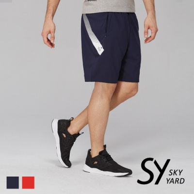 【SKY YARD 天空花園】側邊色帶印圖運動短褲-深藍