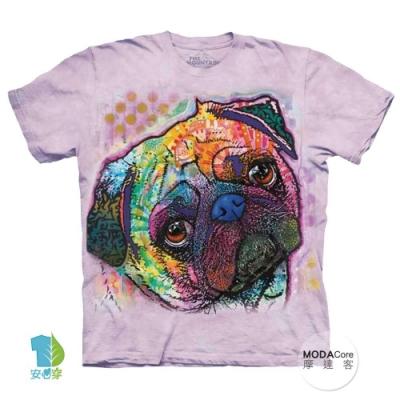 摩達客(預購)美國進口The Mountain 彩繪可愛巴哥 純棉環保短袖T恤