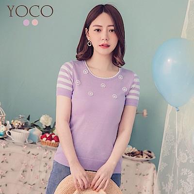 東京著衣-YOCO  輕柔甜美綴珠針織短袖上衣-XS.S.M(共兩色)