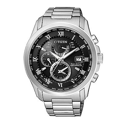 CITIZEN 紳士典雅光動能電波計時腕錶/白/AT9080-57E