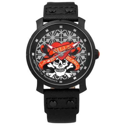 Tendence 天勢表 墨西哥骷髏系列防水真皮手錶-銀紅x黑/47mm