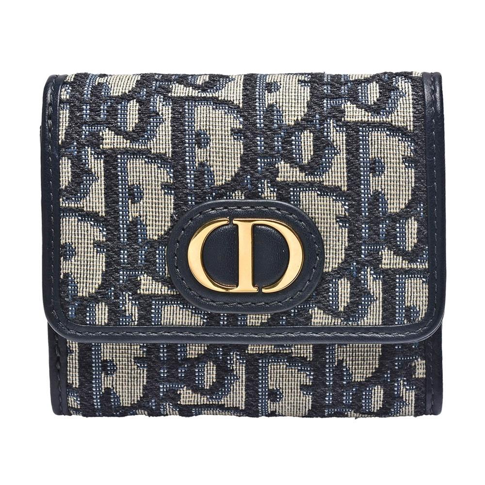 Dior 30 MONTAIGNE LOTUS經典OBLIQUE緹花布暗釦短夾(藍)