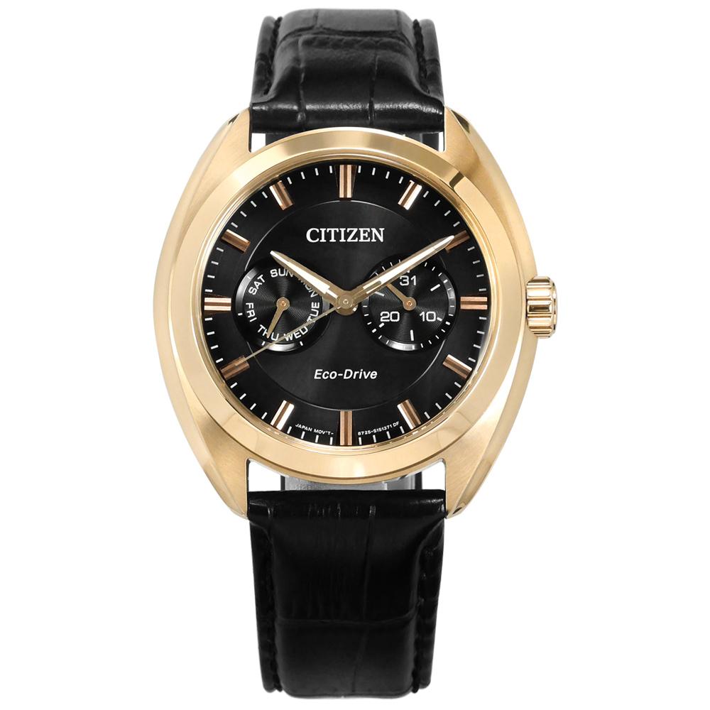 CITIZEN 光動能 星期日期 礦石強化玻璃 防水 真皮手錶-黑x香檳金框/42mm