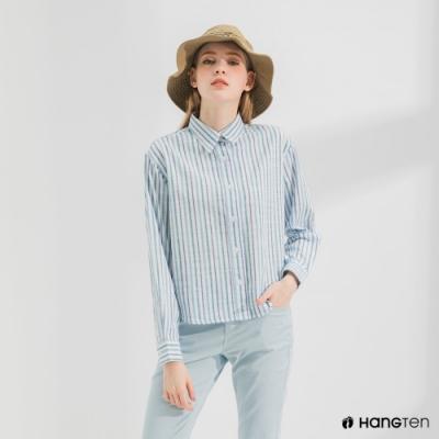 Hang Ten-女裝-A-line版型長袖襯衫-藍白條紋