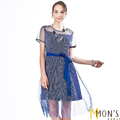 MONS 紡紗條紋層次感洋裝