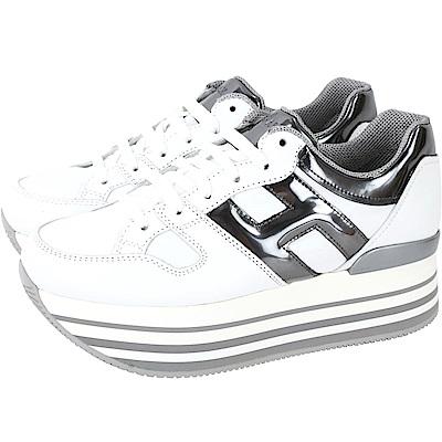 HOGAN Maxi H222 白色厚底繫帶休閒鞋