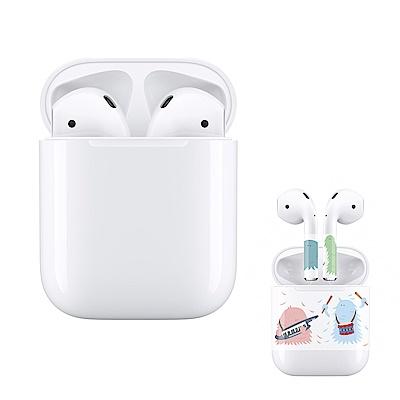 (保貼組合) Apple 第2代 AirPods 藍芽耳機 (搭配有線充電盒)