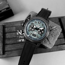 elegantsis 美軍運輸機限量款 小牛皮帆布魔鬼氈錶帶-藍灰x黑/48mm