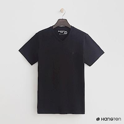 Hang Ten - 男裝 - 有機棉小V領純色T恤 - 黑