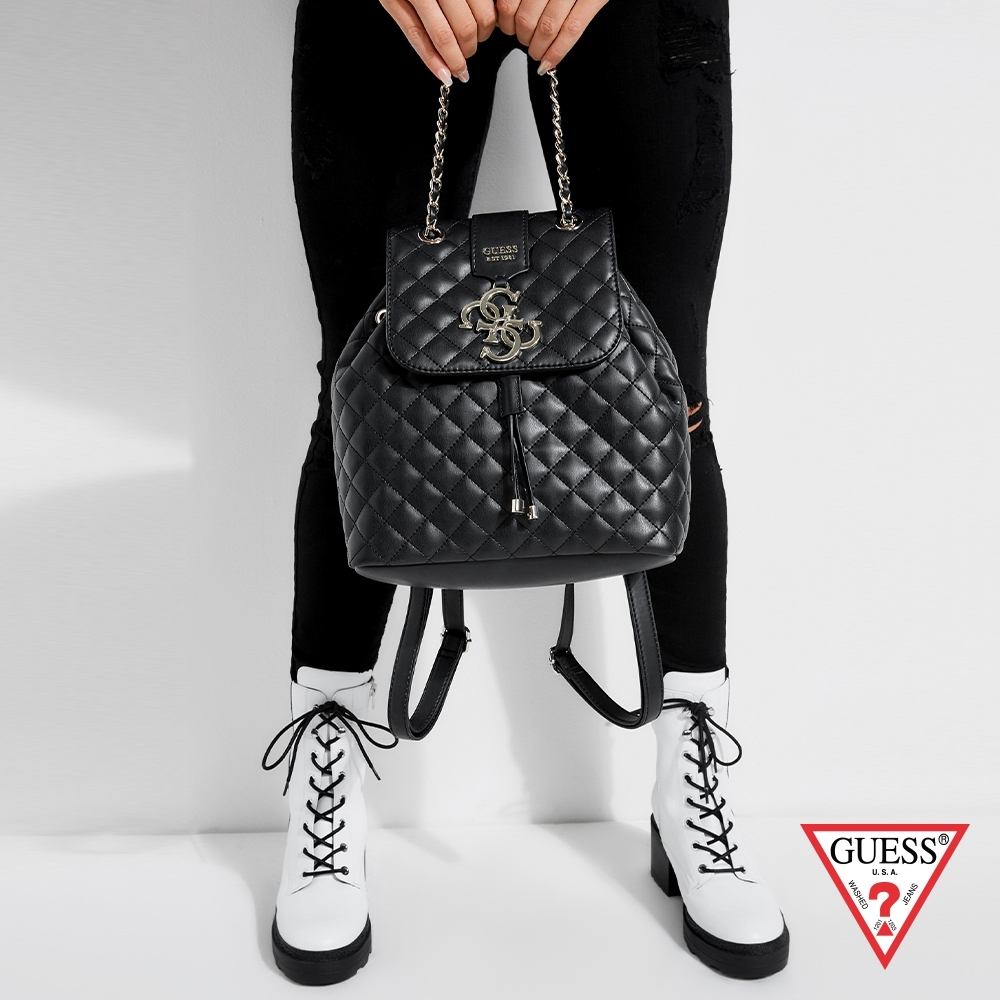 GUESS-女包-時尚菱格壓紋後背包-黑
