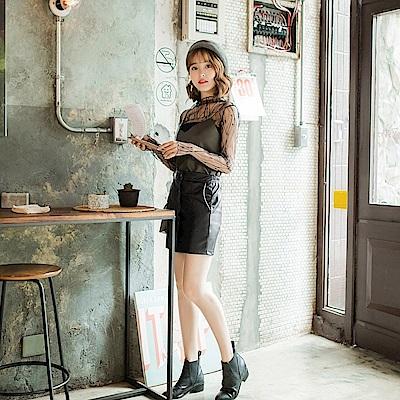 排釦設計修身皮革窄裙-OB大尺碼