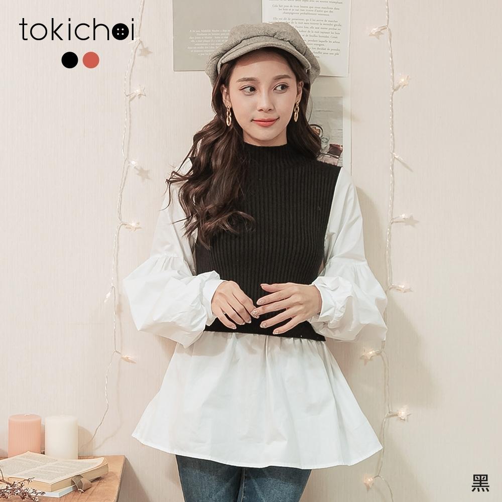 東京著衣 微甜優雅微高領坑條針織拼接假兩件上衣
