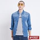 5th STREET 美式繡花 牛仔襯衫-男-石洗藍