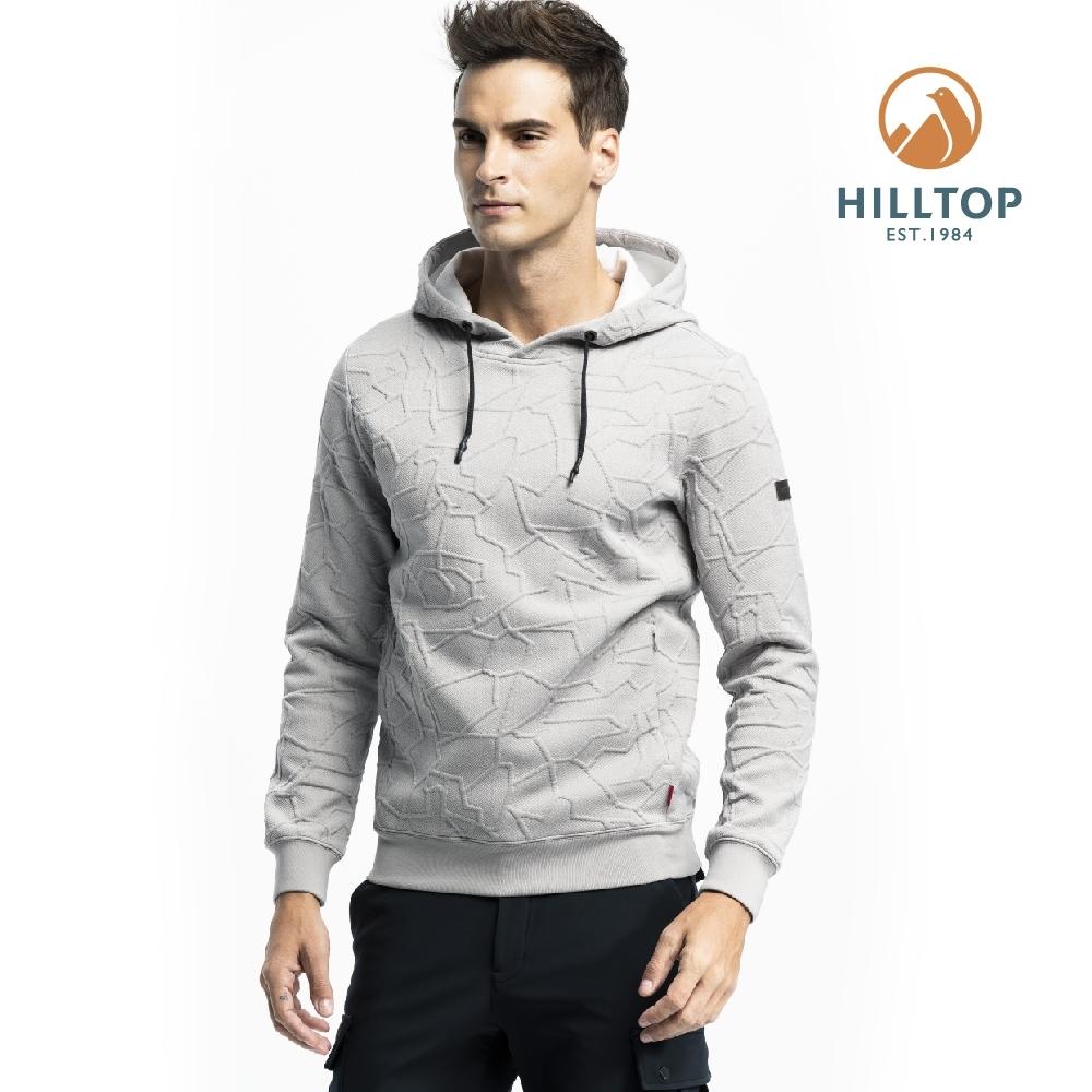 【hilltop山頂鳥】男款連帽保暖刷毛彈性上衣H51MI6淺灰