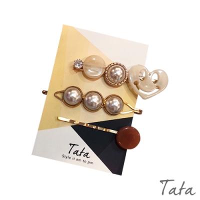微笑愛心珍珠髮夾 TATA
