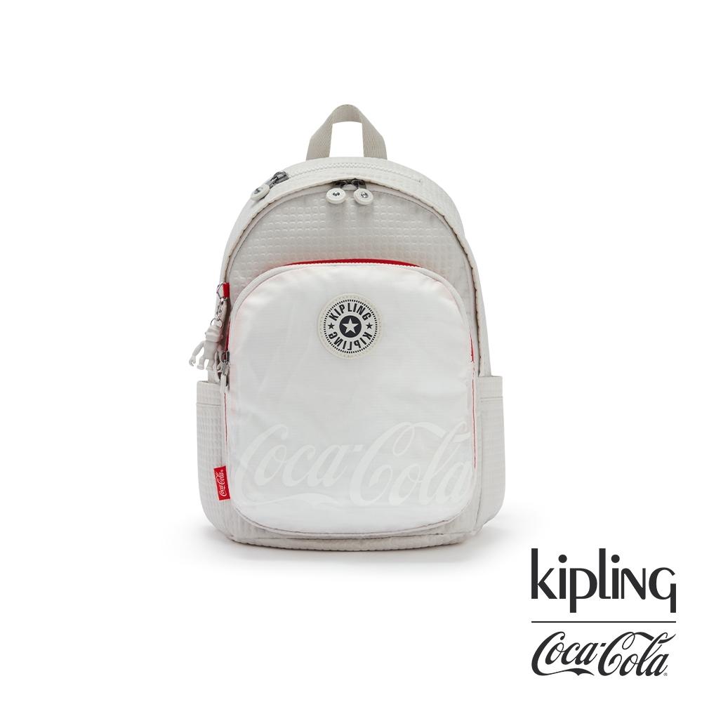 Kipling | Coca-Cola 聯名款經典紅白雙色拼接上方拉鍊後背包-DELIA