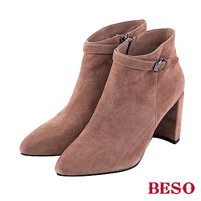BESO 都會風情 皮革搭釦粗跟短靴~粉紅