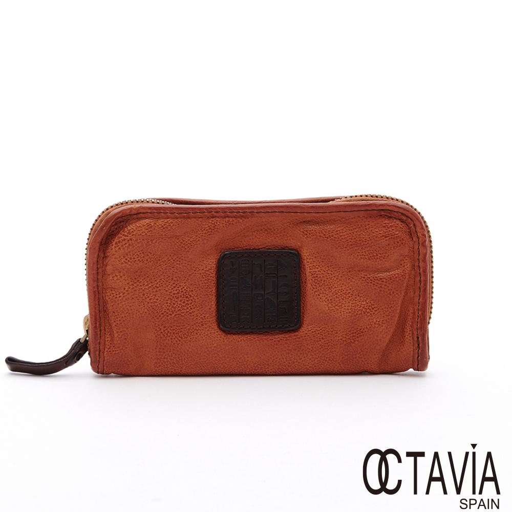 OCTAVIA8 真皮 - 風化牛皮系列  你的標籤阿拉伯文烙印全拉式長夾