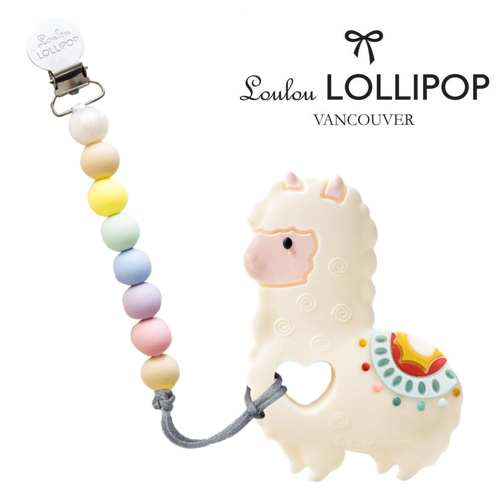 加拿大Loulou lollipop嬰幼兒草尼馬造型 固齒器組/奶嘴鍊夾-棉花糖