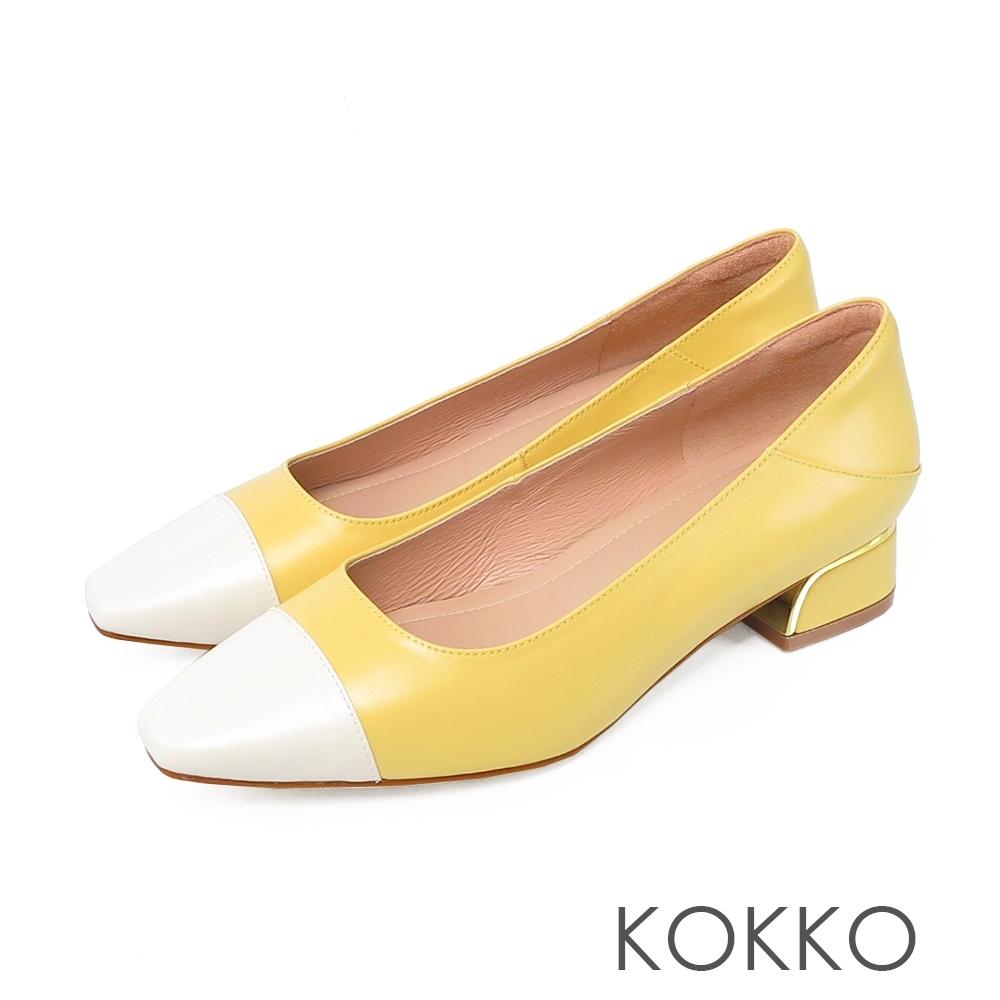 KOKKO 時髦方頭皮革拼接舒壓粗跟鞋奶酪黃
