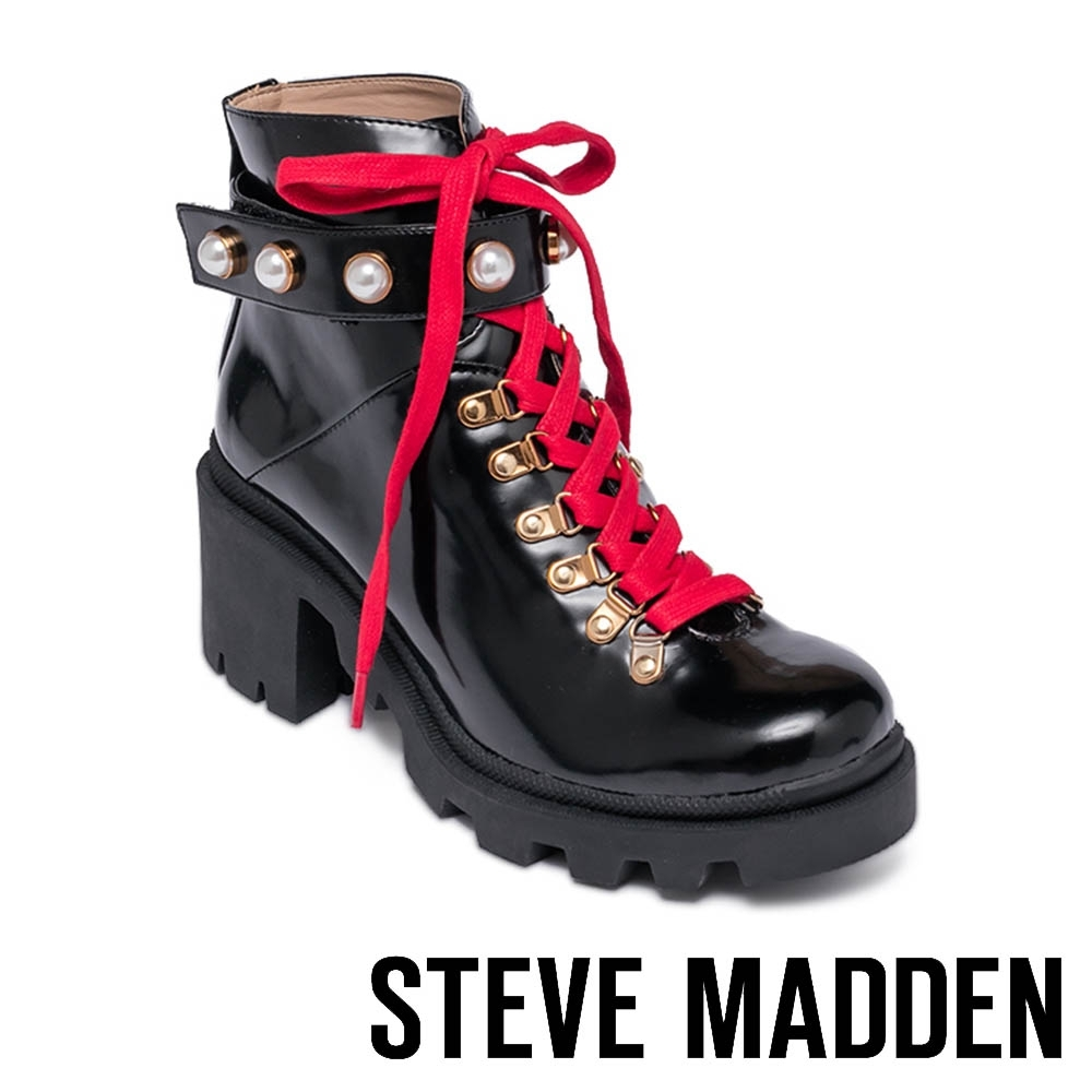 STEVE MADDEN-HARNESS 珍珠紅綁帶厚底短筒靴-黑色