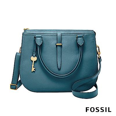 FOSSIL RYDER 真皮圓弧手提/側背兩用包-湖水藍