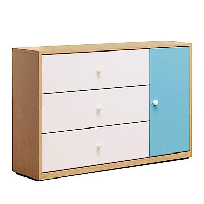文創集 波蒂莉時尚3.5尺雙色三斗櫃/收納櫃-106x40x80.5cm-免組