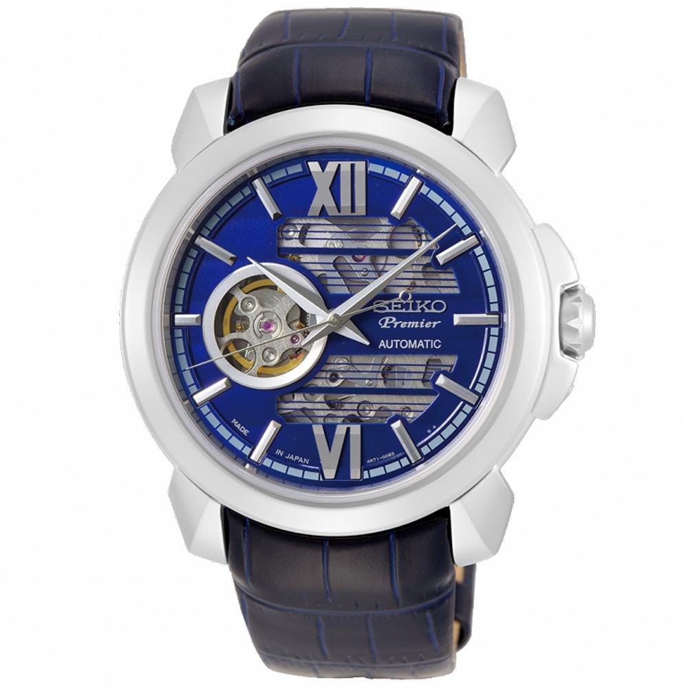 SEIKO 精工Premier開芯機械真皮手錶SSA399J1-藍X銀/43mm