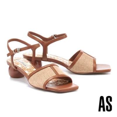 涼鞋 AS 悠閒風情異材質拼接斜紋布羊皮方頭低跟涼鞋-棕