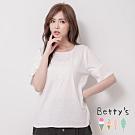 betty's貝蒂思 氣質印花袖綴蕾絲上衣(白色)