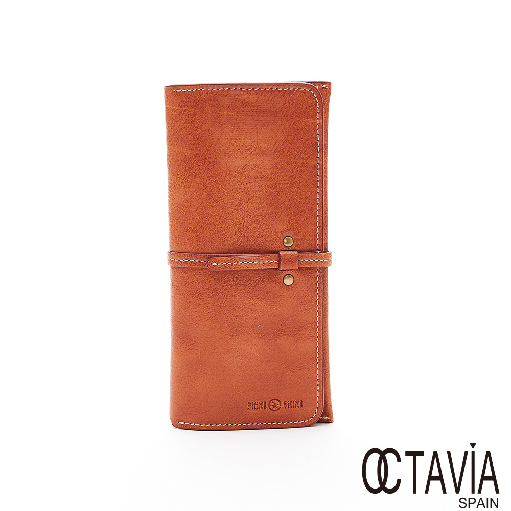 OCTAVIA8 真皮 -  密絲朵 長型牛皮插扣三折長夾 - 焦糖棕