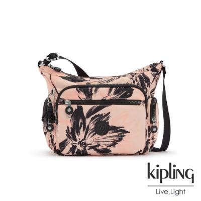 Kipling 珊瑚花潑墨多袋實用側背包-GABBIE S