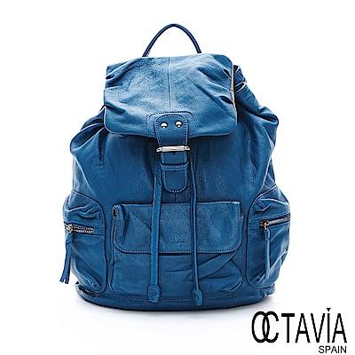 OCTAVIA 8真皮 -  飛翔起  輕量牛皮空氣感多口袋後背包 - 天空藍