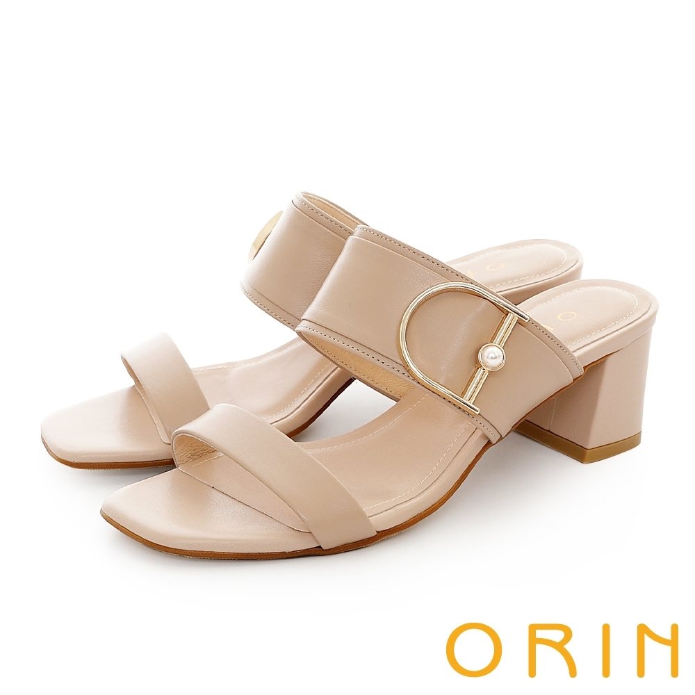 ORIN 金屬D環珍珠牛皮中粗跟 女 拖鞋 杏色