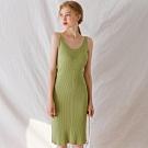AIR SPACE LADY 前後V領曲線無袖羅紋洋裝(綠)