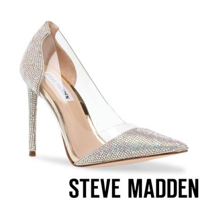 STEVE MADDEN-MARJORIE-R 時尚拼接水鑽簍空細跟高跟鞋-銀色