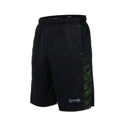FIRESTAR 男吸排短褲-慢跑 跑步 籃球 五分褲 黑螢光綠