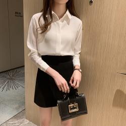 簡約垂感氣質純色長袖襯衫S-2XL(共五色)-白色戀人