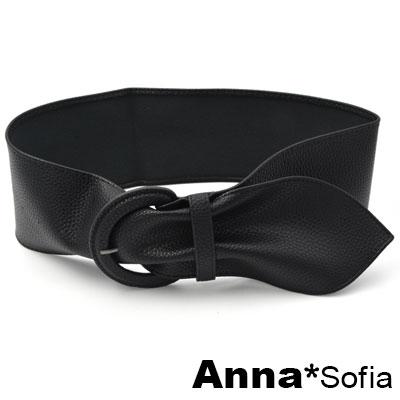AnnaSofia 馬蹄圓釦荔枝紋革軟式 寬腰帶馬甲腰封(酷黑系)