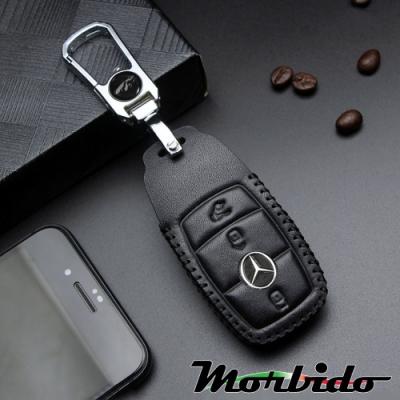 Morbido蒙彼多 M-Benz賓士E-Class系列手縫真皮汽車鑰匙套 3鍵黑