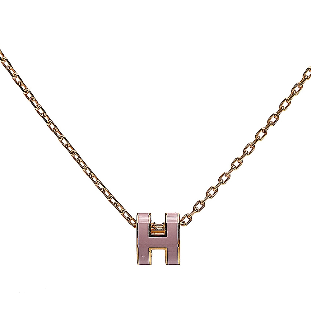 HERMES 經典Pop H立體簍空橢圓LOGO項鍊(小_粉/金)
