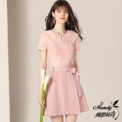 Mandy國際時尚 清新甜美上衣+氣質時髦半裙兩件套組 (1色)【法式服飾】