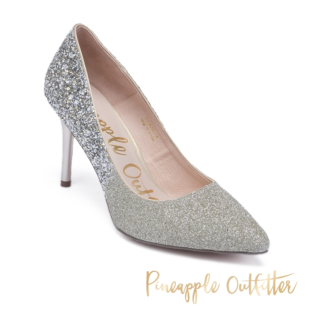 Pineapple Outfitter 奢華水鑽尖頭高跟鞋-金銅色