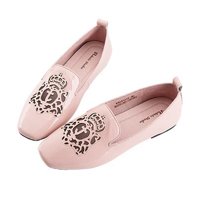 Robinlo 嬉皮圖騰沖孔軟皮革方頭平底鞋 粉紅